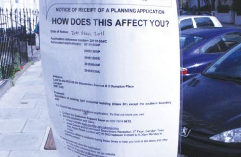 Camden planning notices on lampposts
