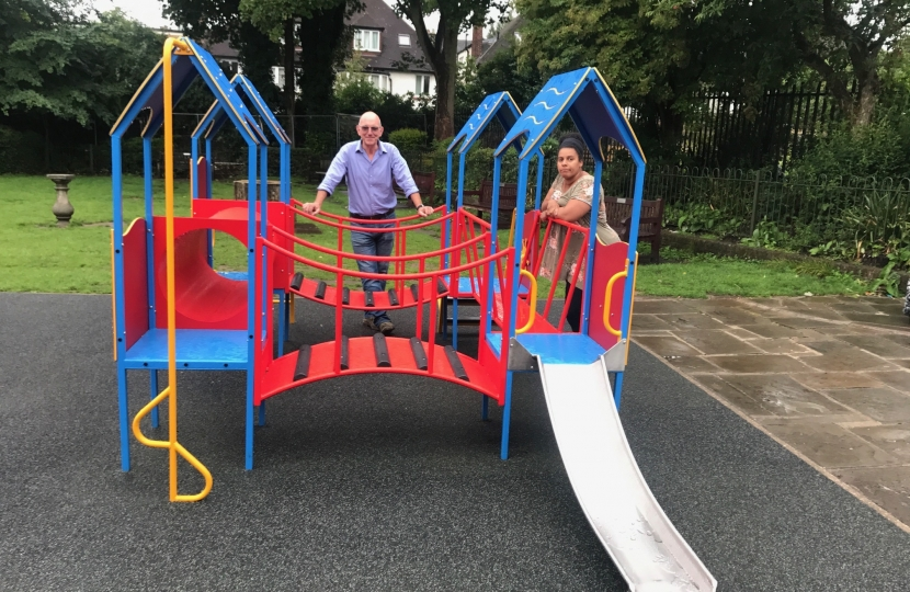 Steve Adams and Cllr Leila Roy reviewing the equipment at Antrim Rd playground