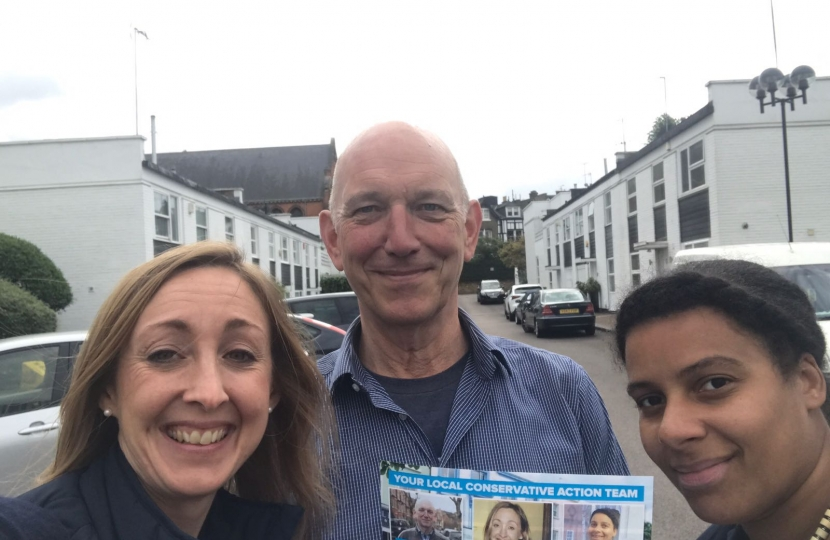 Cllr Claire-Louise Leyland, Steve Adams and Leila Roy calling on local residents in Quickswood, Conybeare, Elliott Square and Elsworthy Rise.