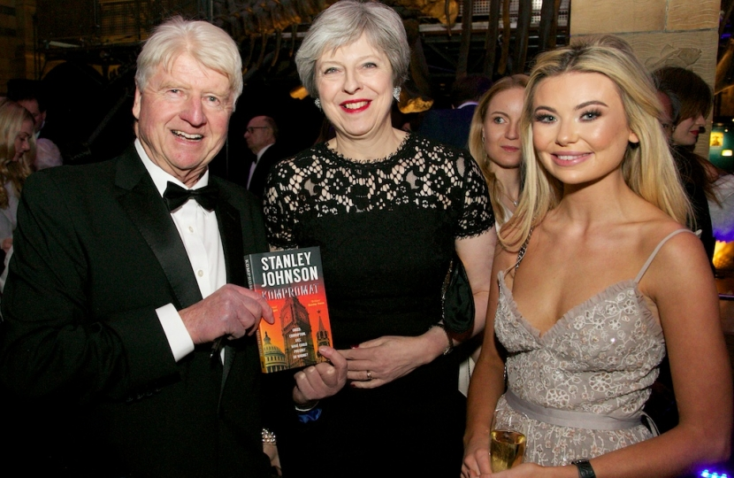 Stanley Johnson, Theresa May and Toff (Georgia Toffolo) Feb 7th 2018 The Conservatives Black and White Ball