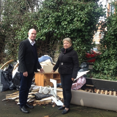 Cllr John Warren and Cllr Carol Shaw inspecting fly tipping in Brondesbury Park